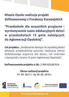 """""""Przedszkole dla wszystkich przyjazne – wyrównywanie szans edukacyjnych w przedszkolach 15 gmin należących do Aglomeracji Opolskiej"""""""